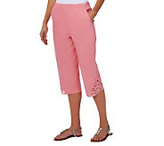 Denim & Co. How Timeless Stretch Twill Capri Pants w/ Battenburg Lace - A221813