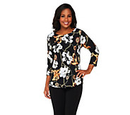 Susan Graver Liquid Knit Printed Front Solid Back Top - A231513
