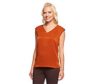 Linea by Louis DellOlio Sleeveless V-Neck Top w/ Side Slits - A235313