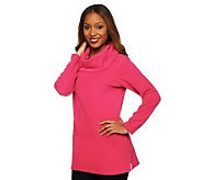 As Is Denim & Co. Long Sleeve Cowl Neck Fleece Tunic - A235813