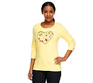 Quacker Factory Bee Still my Heart 3/4 Sleeve T-shirt - A240813
