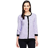 Denim & Co. 3/4 Sleeve Button Front Dot Print Cardigan - A251613