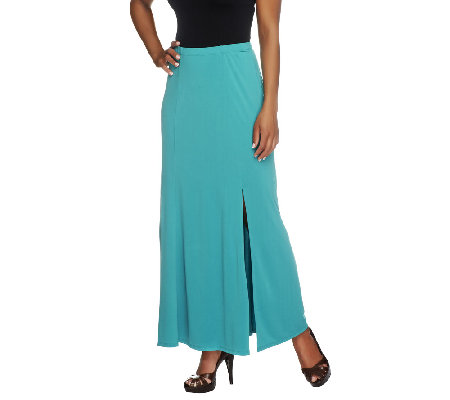 susan graver liquid knit gored maxi skirt with slit