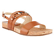 Isaac Mizrahi Live! Leather Strap Sandals with Enamel Hardware - A253013