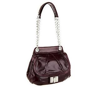 As Is B. Makowsky Devon Glazed Leather Flap Satchel w/Chain