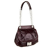 As Is B. Makowsky Devon Glazed Leather Flap Satchel w/Chain - A253313