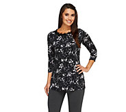 Susan Graver Printed Liquid Knit Top w/ Embellished Neckline - A258613