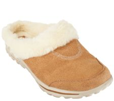 Skechers GOwalk Suede Clogs with Faux Fur Lining - Cozy
