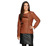 Dennis Basso Faux Leather Asymmetric Zip Peplum Jacket - A260413