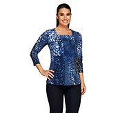 Susan Graver Printed Butterknit Square Neck Top w/ 3/4 Sleeves - A261213