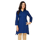 Dennis Basso Woven Button Front Tunic with Shark-Bite Hem - A262713
