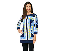 Susan Graver Border Printed Liquid Knit 3/4 Sleeve Tunic - A263013