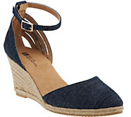 White Mountain Espadrille Wedges w/ Ankle Strap - Cicso - A263213