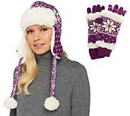 MUK LUKS Knit Snowflake Accessories with Faux Fur Trim - A265313