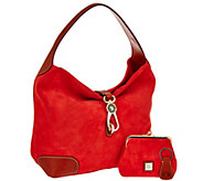Dooney & Bourke Suede Hobo with Logo Lock and Accessories - A269013