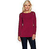 Susan Graver Liquid Knit Long Sleeve Top with Zipper Detail - A269213