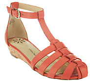 As Is Isaac Mizrahi Live! Leather Fisherman Wedge Sandals - A270113