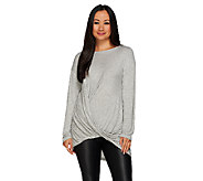 H by Halston Twisted Asymmetrical Drape Long Sleeve Knit Top - A270213