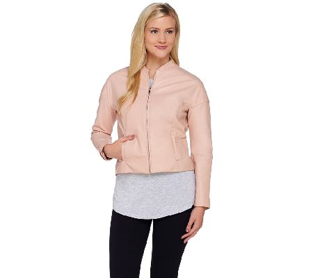 H by Halston Cropped Zip Front Leather Jacket - A270513