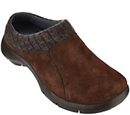 Dansko Suede Stain Resistant Clogs w/ Knit Trimmed Detail - Emily - A270913