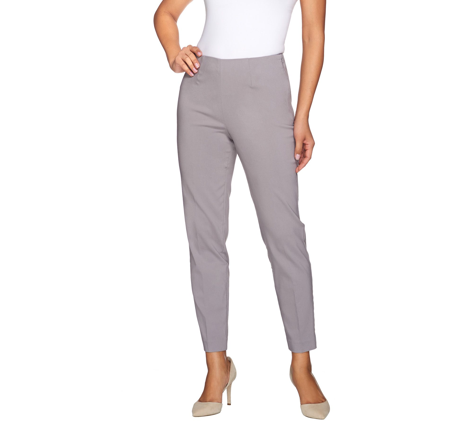 Susan Graver Uptown Stretch Side Zip Slim Leg Ankle Pants