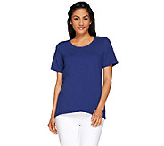 As Is Denim & Co. Essentials Scoop Neck T-Shirt with Forward Seam - A274713