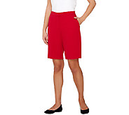 As Is Susan Graver Coastal Stretch Zip Front Bermuda Shorts - A274813