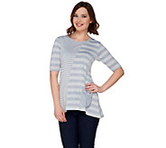 LOGO by Lori Goldstein Mixed Striped Sweater Knit Top w/ Chiffon - A275513