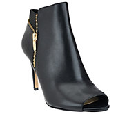 As Is Marc Fisher Suede or Leather Peep Toe Ankle Boots - Serenity - A275613