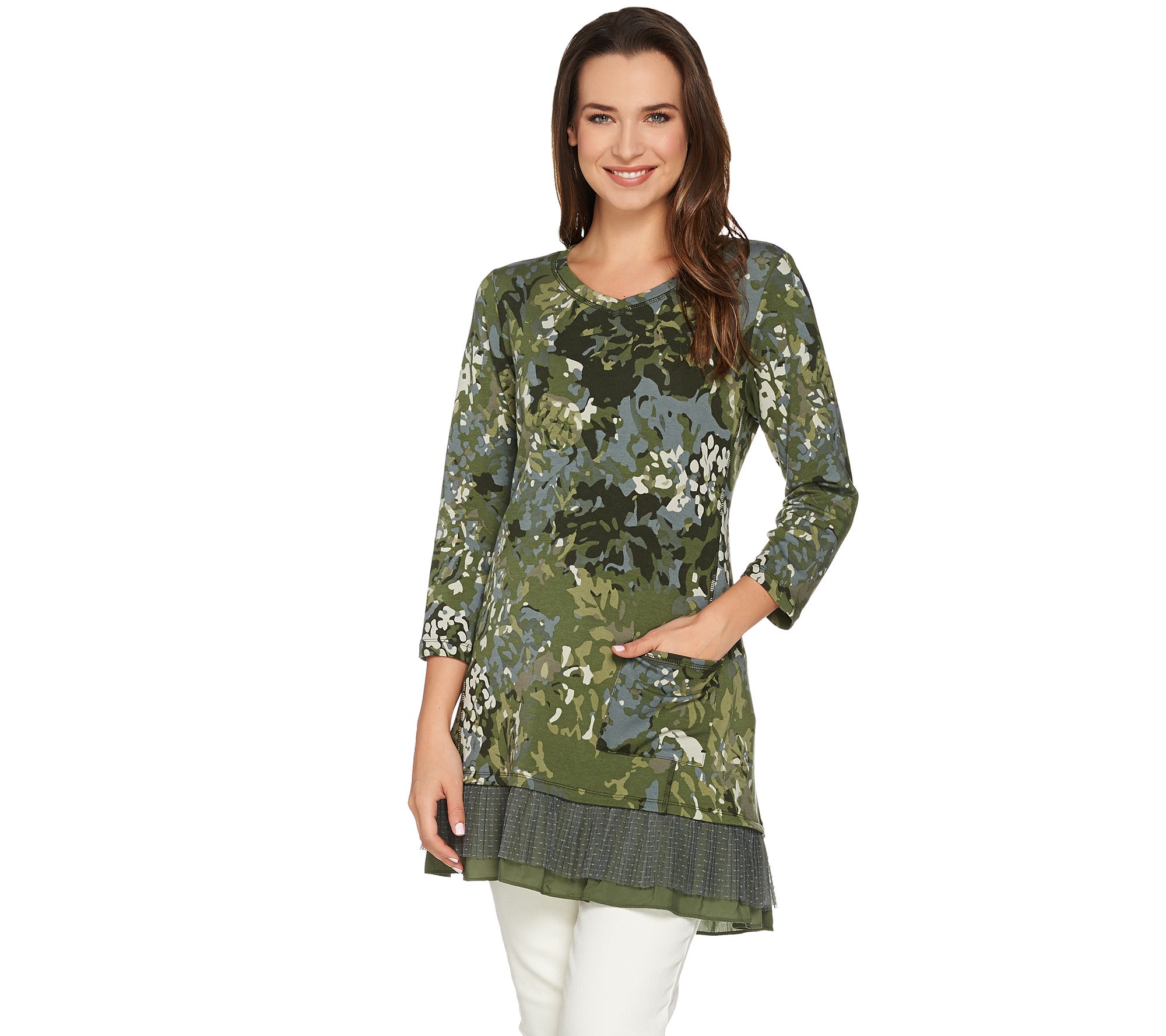 LOGO Lounge by Lori Goldstein French Terry Printed Top w/ Pleated ...