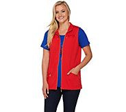 Quacker Factory Zip Front Vest and Short Sleeve T-shirt Set - A277113