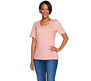 Denim & Co. Tile Printed Scoop Neck Short Sleeve Tee - A277613
