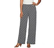 Susan Graver Regular Printed Liquid Knit Pull-On Wide Leg Pants - A277813