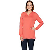 Isaac Mizrahi Live! Essentials Split Neck Knit Tunic - A279013