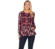 LOGO by Lori Goldstein Button Front Plaid Top with Peplum Detail - A279413