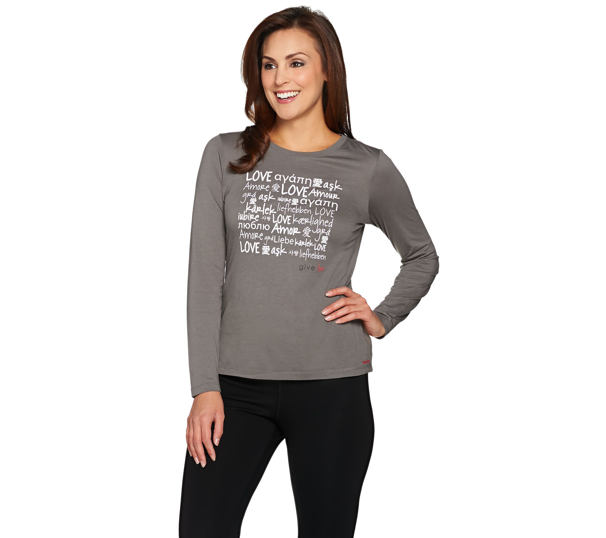 Peace Love World Give Love Long Sleeve Knit T-Shirt - Page 1 — QVC.com