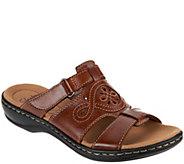 Clarks Leather Adjustable Slide Sandals - Leisa Higley - A288113