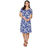 Denim & Co. Floral Print Fit and Flare Short Sleeve V-Neck Dress - A288313