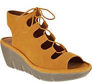 Clarks Artisan Leather Ghillie Wedge Sandals - Clarene Grace - A291713