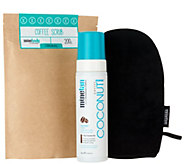 MineTan Coconut Coffee Tanning Foam and Coffee Scrub w/ Mitt - A292413
