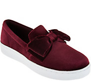 Isaac Mizrahi Live! SOHO Velvet Bow Slip-On Sneakers - A294513