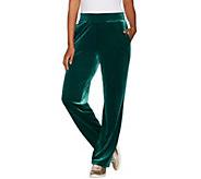 Susan Graver Petite Stretch Velvet Pull-On Wide Leg Pants - A297713