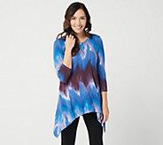 LOGO by Lori Goldstein Printed Tie Dye Knit Top w/ Hi-Low Hem - A299613