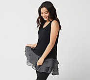 LOGO Layers by Lori Goldstein Knit Tank Top w/ Yoryu Ruffle Hemline - A302413