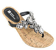White Mountain Leather Embellished Wedge Sandals - Amazing - A336513