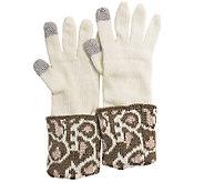 MUK LUKS Womens Leopard Cuff Gloves - A337613