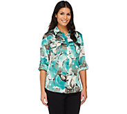 Susan Graver Charmeuse Printed Blouse with Roll Tab Sleeves - A221314