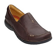 As Is Clarks Unstructured Leather Slip-on Shoes - A222614