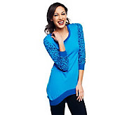 Jennifer Hudson Collection Sweater with Animal Print Sleeve Detail - A231714