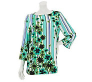Bob Mackies Scoop Neck Floral & Stripe Printed Top w/ Stitch Detail - A231814